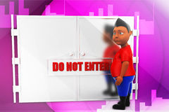 3d man dont enter illustration Royalty Free Stock Photo