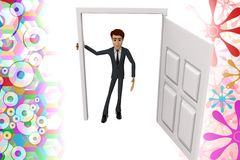 3d character standing in front of opened door illustration Royalty Free Stock Image