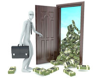 3d man and door with money. Concept of wealth Royalty Free Stock Photography