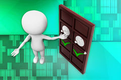 3d man door opening illustration Royalty Free Stock Photo