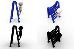 3d man with double ladder concept collections with alpha and shadow channel Stock Photography