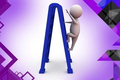 3d man with double ladder  illustration Stock Images