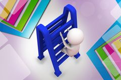 3d man with double ladder  illustration Stock Photos