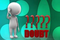 3d man doubt illustration Stock Images