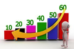 3d man down graph concept Royalty Free Stock Photo