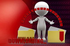 3d man downloading folder illustration Stock Photography