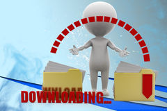 3d man downloading folder illustration Stock Photos