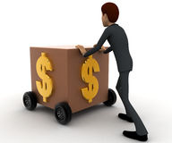 3d man draw box with wheel and dollar symbol on it concept Royalty Free Stock Photo