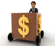 3d man draw box with wheel and dollar symbol on it concept Royalty Free Stock Image