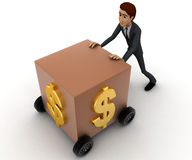 3d man draw box with wheel and dollar symbol on it concept Royalty Free Stock Photography