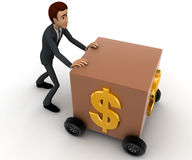 3d man draw box with wheel and dollar symbol on it concept Stock Photo