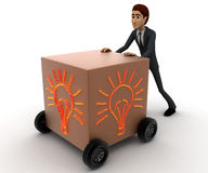 3d man draw box with wheel and glowing bulb painted on it concept Stock Images