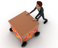 3d man draw box with wheel and glowing bulb painted on it concept Stock Photo