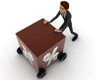 3d man draw box with wheel and percentage symbol on it concept Royalty Free Stock Photo