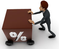 3d man draw box with wheel and percentage symbol on it concept Royalty Free Stock Photography