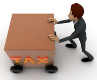 3d man draw box with wheel and TAX written on it concept Royalty Free Stock Photo