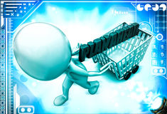3d man draw cart with plan ahead text illustration Royalty Free Stock Images