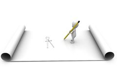 3d man draw geometry concept Stock Photo