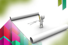 3d man draw geometry  illustration Stock Photo