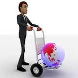 3d man draw hand truck and earth model on it concept Stock Images