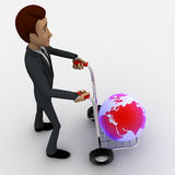 3d man draw hand truck and earth model on it concept Stock Image
