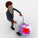 3d man draw hand truck and earth model on it concept Royalty Free Stock Image