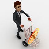 3d man draw hand truck and target on it concept Royalty Free Stock Photo