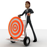 3d man draw hand truck and target on it concept Stock Photo