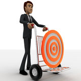 3d man draw hand truck and target on it concept Royalty Free Stock Images