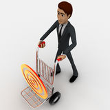 3d man draw hand truck and target on it concept Stock Photos