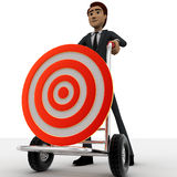 3d man draw hand truck and target on it concept Royalty Free Stock Photos