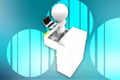 3d man drawer and laptop illustration Royalty Free Stock Image
