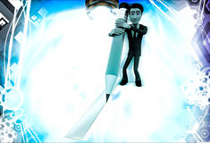 3d man drawing line using pencil illustration Royalty Free Stock Images