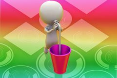 3d man drinking with straw illustration Stock Photos