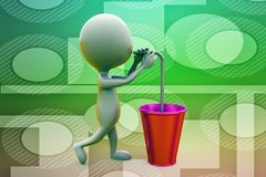 3d man drinking with straw illustration Royalty Free Stock Photos