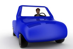 3d man drive car concept Royalty Free Stock Photos