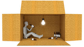 3D Man Drunk with bottle in box Royalty Free Stock Images