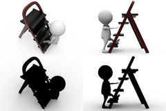 3d man dual ladder concept collections with alpha and shadow channel Stock Image