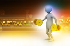 3d man with dumbbells Royalty Free Stock Images
