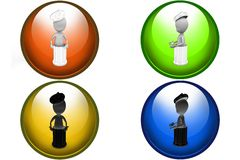 3d man in dustbin icon Royalty Free Stock Photography