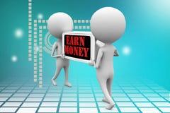3d man earn money illustration Royalty Free Stock Photography