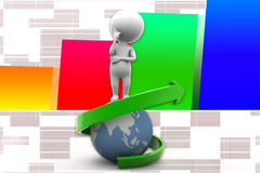 3d Man Earth Arrow Illustration Stock Photo