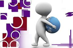 3d man earth on back illustration Royalty Free Stock Images