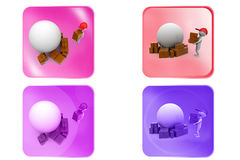3d man earth box icon Royalty Free Stock Photography