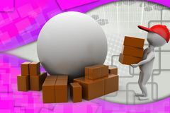 3d man earth box illustration Royalty Free Stock Images