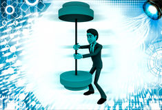 3d man easily carry weights illustration Royalty Free Stock Image