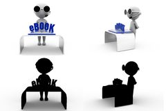3d man ebook Concept Collections With Alpha And Shadow Channel Stock Photos