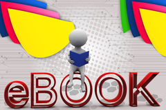 3d man ebook illustration Royalty Free Stock Photography