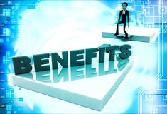 3d man on edge of broken bridge and benefits illustration Stock Photos