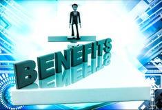 3d man on edge of broken bridge and benefits illustration Stock Image